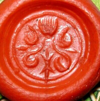 Ancient Rare Medieval bronze pseudo heraldry finger ring seal 3