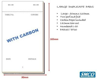 LARGE RESTAURANT WAITER ORDER PADS 2 Ply Duplicate CARBON LEAFED Pub Bar 5