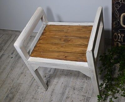 Bench Seat Seater Settee Chair French White Ottoman Wood Vintage Retro Antique 4