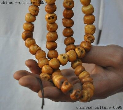 "24""China Buddhism Hand carved Skull skeleton statue Amulet Necklace Pendant 5"