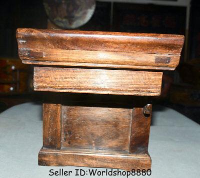 "25.2"" Antique Old China Huanghuali Wood Dynasty 3 drawer Desk Table furniture 9"