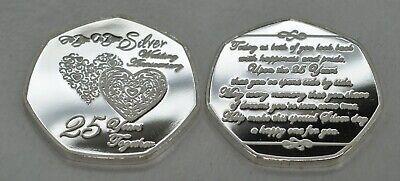 25th SILVER WEDDING ANNIVERSARY Fine Silver Commemorative. Gift/Present 25 Years 3