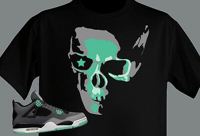 online retailer 6941b 7cf23 ... T shirt MADE TO Match Jordan Shoe Green Glow Retro 4 SKULL and STAR NWT  btn