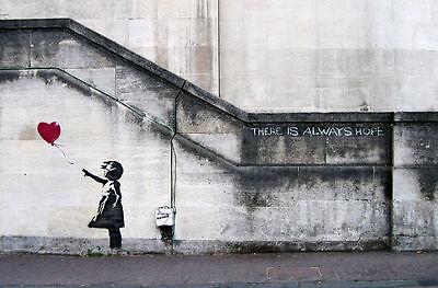 Banksy  street art Graffiti Balloon Girl 36 x 24  Canvas Print  - There is Hope 2