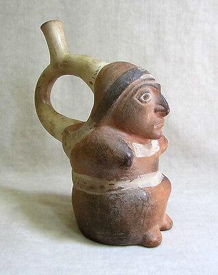 Pre-Columbian MOCHE STIRRUP VESSEL OF A SEATED FIGURE, circa 1 AD - 500 AD 6 • CAD $1,197.00