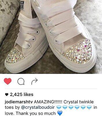 fa559b560225 ... 2 of 7 Custom Personalised Crystal Converse Bling Wedding Bride  Bridesmaids Prom Shoes 5
