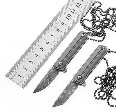 D2 Damascus Blade Titanium Knife Mini Pocket EDC Tools Survival Folding Keychain 11