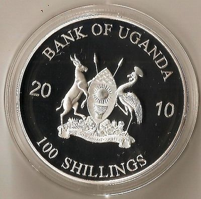 UGANDA 100 SHILLINGS 2010 ALLIGATOR ANIMAL HUGE COIN 50 mm DIAMETER PROOF