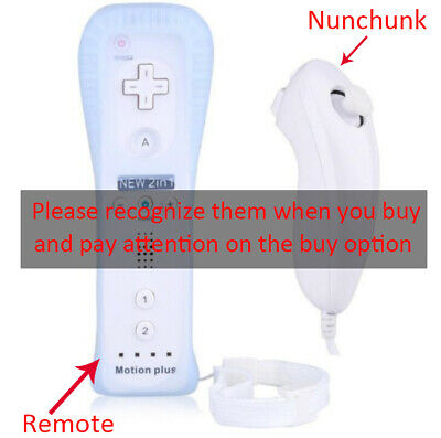 Built in Motion Plus Remote Nunchuck Controller + Case for Nintendo Wii / Wii U 2