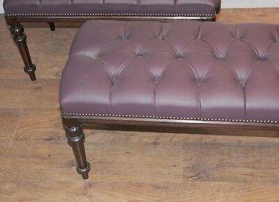 Pair Regency Mahogany Piano Stools Bench Seats 5