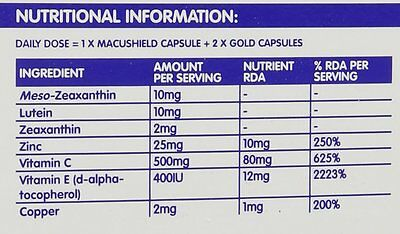 Macushield Gold Food Supplement - Pack of 90 Capsules only 4