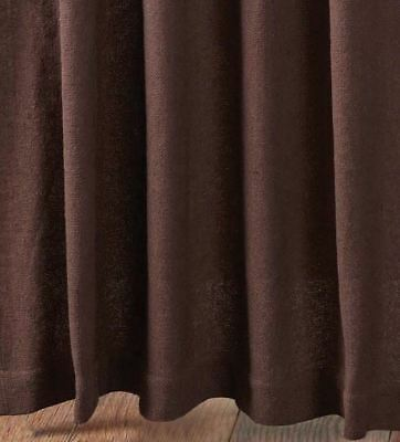 "84"" Long Burlap Chocolate Brown Cotton Rustic Country Window Curtains Tie Backs 5"