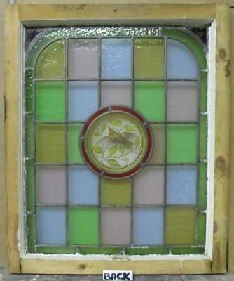 """MIDSIZE OLD ENGLISH LEAD STAINED GLASS Victorian Hand Painted Arch 22 x 26.25"""" 3"""