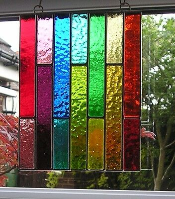 Stained Glass Panel, Abstract Suncatcher, Geometric, Hand Made in England