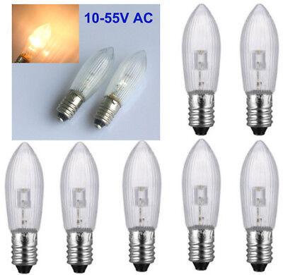 10Stk E10 LED 0,2W 10-55V Birnen Lampe Topkerzen Spitzkerze Riffelkerze matt jc 3