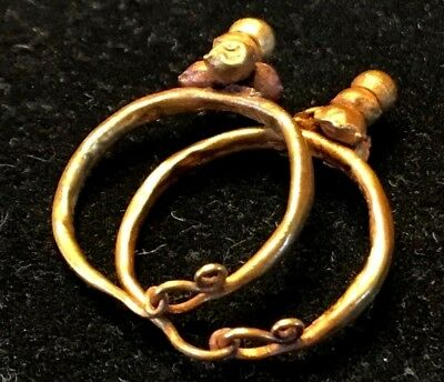ANCIENT ROMAN-BYZANTINE PAIR OF HOOP GOLD EARRINGS w/ DECORATION! NICE!!! 2