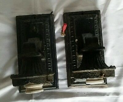 Pair Architectural Salvage Cast Iron Gothic Wall Sconces Light Fixtures SPOOKY 4