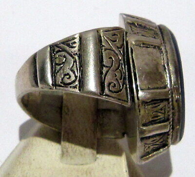 Post Medieval Silver Ring With Nice Engraving And Lapis Lazuli On The Top # 465 4