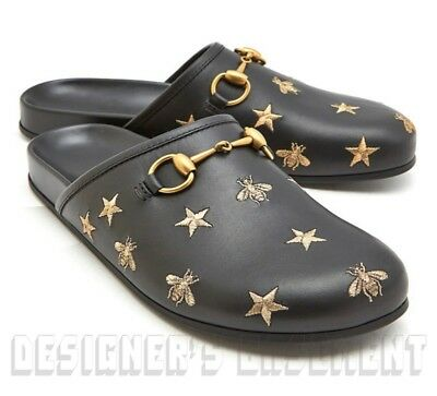 00d64704168 ... GUCCI mens 13G black BEE embroidery RIVER leather HORSEBIT Slides shoes  NIB Auth 2