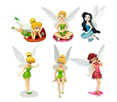 """Tinkerbell Figures 6pc Fairy 3"""" Girls Dolls Set Silvermist Rosetta Tinker Bell"""