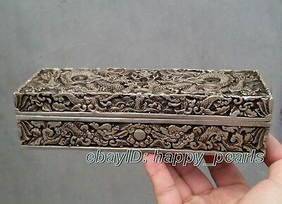China Qing dynasty Handwork Miao silver dragon statue Bank money jewelry Box 2
