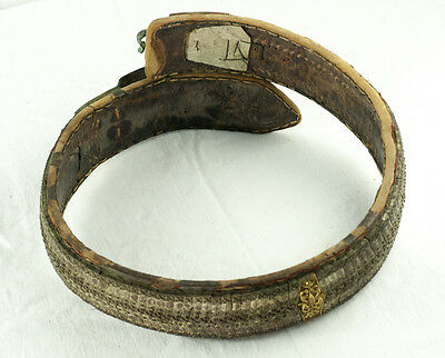 Amazing Silver & Gold Leather Ottoman Folk Handmade Belt Buckle Antique VTG 7
