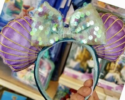 Disney Parks The Little Mermaid Ariel Sequin Iridescent Seashell Ears Headband 4