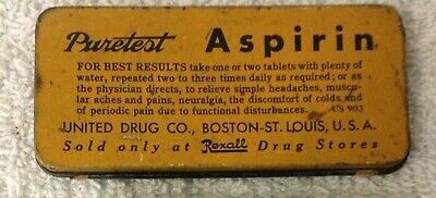 Antique Tin, Puretest Aspirin, Rexall Drug Stores, made by United Drug 3