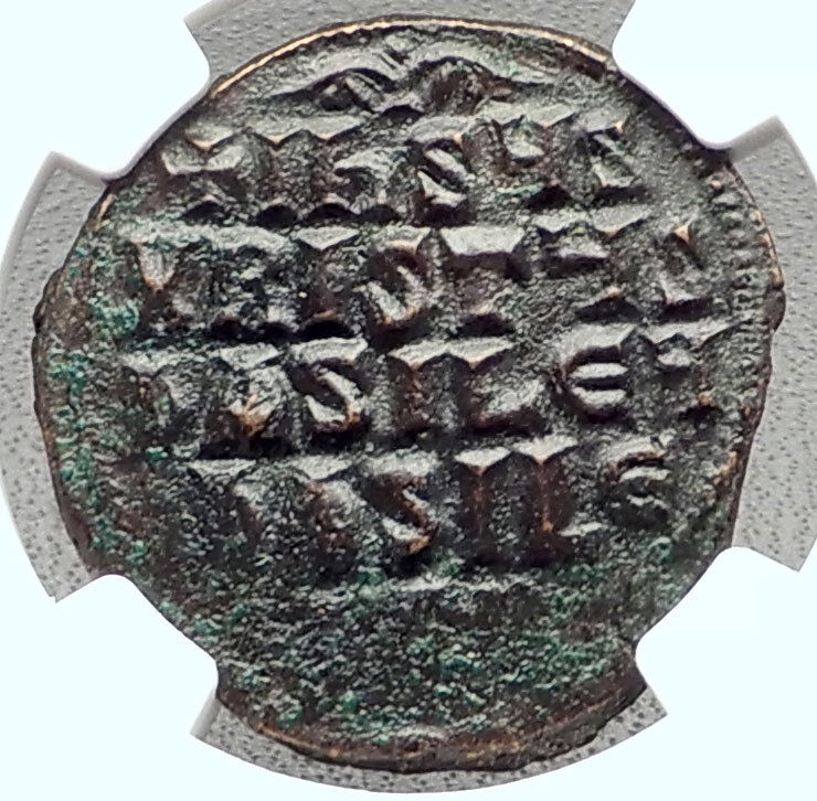JESUS CHRIST Class A3 Anonymous Ancient 1020AD Byzantine Follis Coin NGC i72355 2