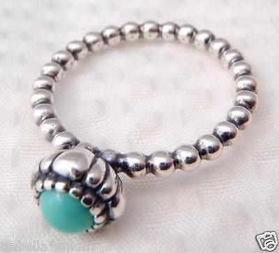 3ea3da5f0 ... DECEMBER BIRTHDAY BLOOMS Authentic PANDORA Silver/TURQUOISE Stone RING  7/54 NEW 3