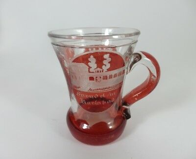 Andenken Becher/ Henkel- Krug Glas gebeizt, KARLSBAD, um 1900  AL43 4