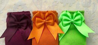 Spanish Romany Baby Girls Socks Double Bow Knee High. School uniform, summer