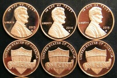 2013 2014 2015 2016 2017 2018 2019 S Lincoln Shield Cent Gem Proof Penny Set 6