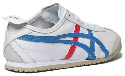 Onitsuka Tiger Mexico 66 Womens Soft Leather Trainers In White Blue Size UK 3 - 3