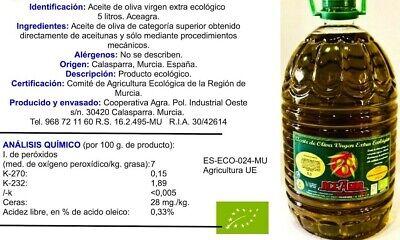 Aceite Oliva Virgen Extra Ecológico. Garrafa de 5 litros. 2