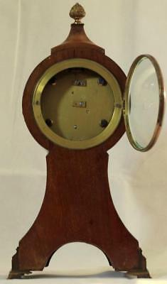 Antique English 8 Day Balloon Head Mahogany Mantle Clock 3