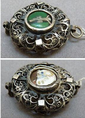 Pendentif reliquaire en argent filigrane + émail  18e siècle 18th century 2