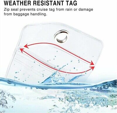 6X NEW *REUSABLE* Cruise Luggage Tag/eTag Holder *THICK PVC Zip Seal,Steel Loop 4