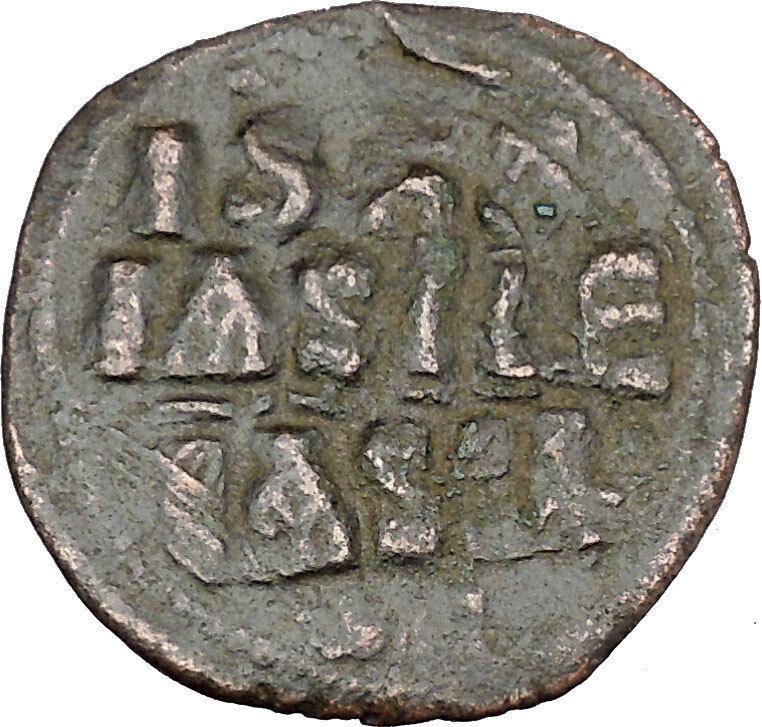 JESUS CHRIST Class E Anonymous Ancient 1059AD Byzantine Follis Coin i48445 2