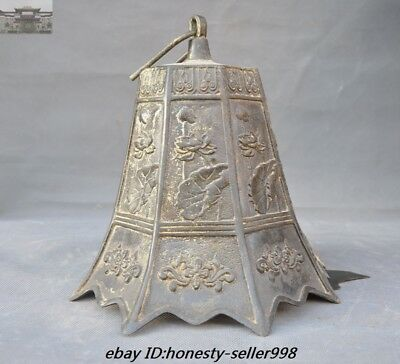"""23""""Old Chinese Buddhism Temple Bronze Lotus flower Hanging Pray Bell Zhong Bells 10"""
