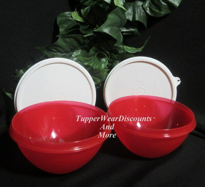 Tupperware New Rare Set 2 Small 3 Cup Wonderlier Bowls Bright Red w White Seals 3
