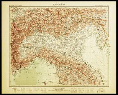 Cartina Italia Pianure.Nord Italia Pianura Padana Carta Geografica Originale Atlante Stieler 1920 Eur 45 00 Picclick It