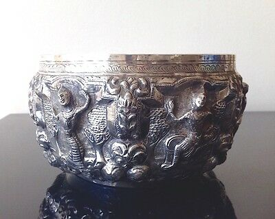 Superb Fine Antique Silver Metal Burmese Bowl With Embossed Figural Decoration 2