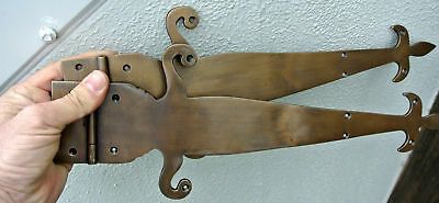 "2 Large"" FLEUR de lis"" hinges old aged style solid Brass DOORS BOX 17"" long B 2"
