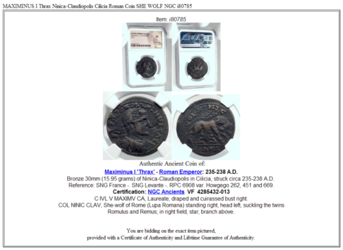 MAXIMINUS I Thrax Ninica-Claudiopolis Cilicia Roman Coin SHE WOLF NGC i80785 5