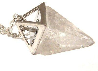 QUARTZ PENDULUM NECKLACE stone crystal clear point charm pyramid pendant 1G