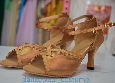 Women's Satin Ballroom Salsa Latin Tango Ceroc Dance Shoes Heeled Sandals All SZ 6