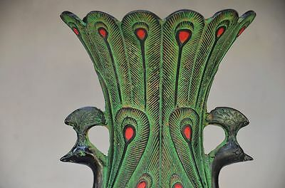 Beautiful Chinese Bronze Handmade Carved Peacock Vase 6