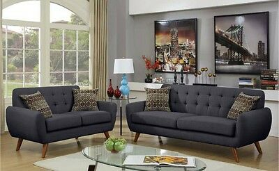 MODERN LIVING ROOM Sofa & Loveseat Ash Black Polyfiber Couch ...