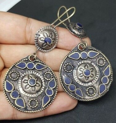 Old Beautiful silver plated lapis lazuli Earrings From Afghanistan 4